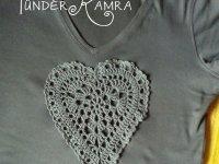 horgolt szív Tündérkamra pólóra